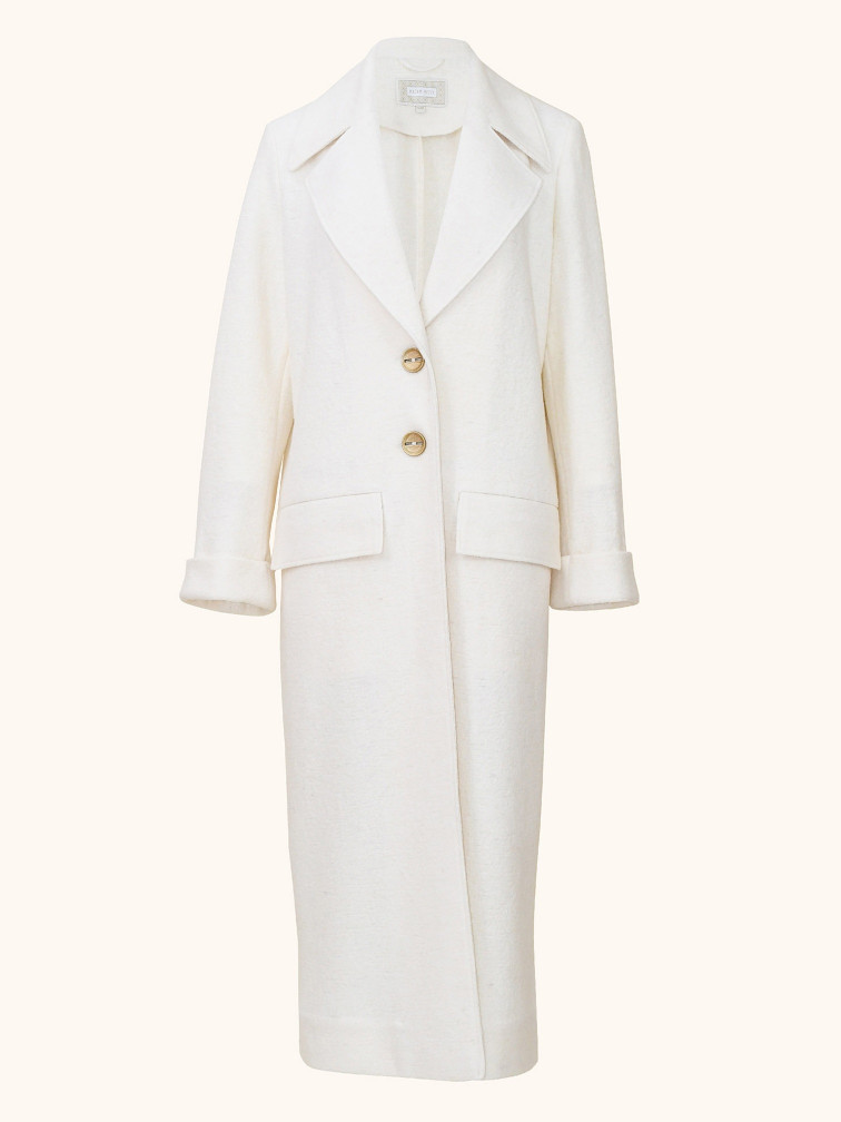 Wool Coat White Front