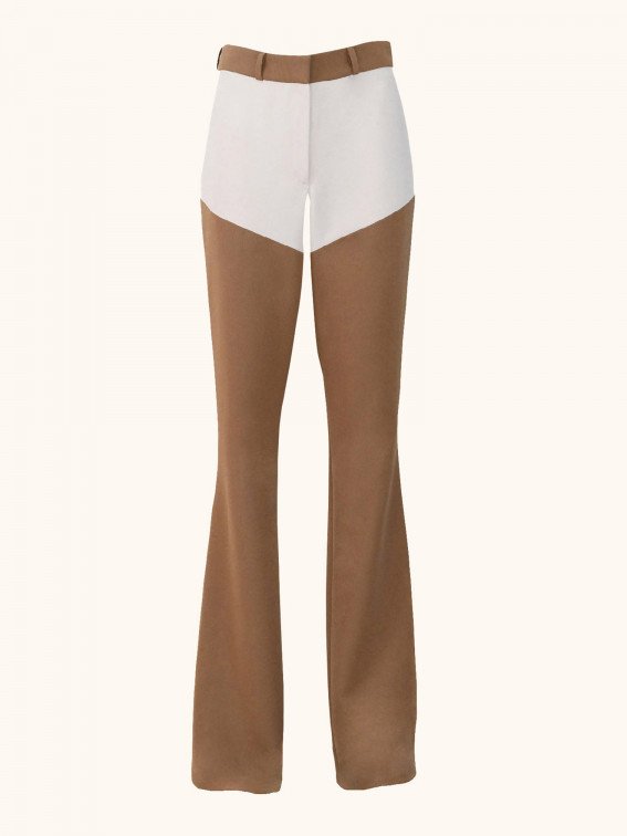Flared Pants Brown Ecru Front